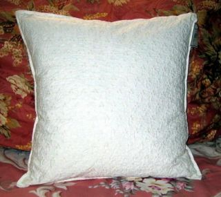 Crisp White Ribbon Full Bedspread 2 Gathered Shams Embroider Pillow 4 PC Set NIP