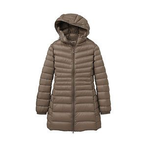 UNIQLO Quilted Beige Tan Down Feather Puffer Ski Winter Hooded Coat Jacket XS