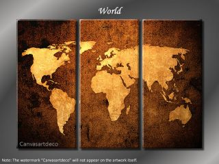 "Framed Huge 3 Panel Modern Canvas Art ""World Map"""