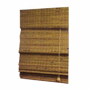"""Ambia Jakarta Weave Pecan 52"""" x 64"""" Flat Fold Roman Shade"""
