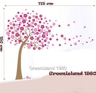 Large Pink Cherry Flowers Tree Wall Stickers Art Mural Nursery Wallpaper Decor