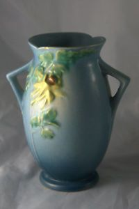 Roseville Pottery Blue Columbine Double Handle Vase 17 7