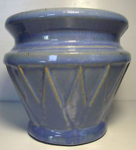 Early USA Art Pottery Roseville McCoy Blue Glazed Planter Vase Stilt Marks