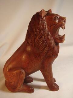 """8"""" Bali Hand Carved Seated Roaring Lion Wood Sculpture"""