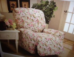 Shabby Country Cottage Chic Recliner Chair Slipcover Floral Pink Rose Jersey