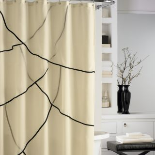 Nicole Miller Dainty Silhouette Shower Curtain Ivory Black Tier Chiffon