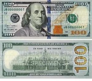 New $100 Bill Unique Serial Number Mint Uncirculated