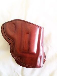 """Leather Paddle Holster for s w J Frame 1 7 8"""" 2 1 8"""" Barrels Brown R H"""