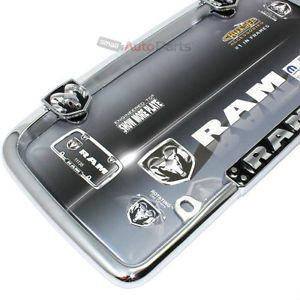 Dodge RAM Chrome Black License Plate Tag Frame for Auto Car Truck
