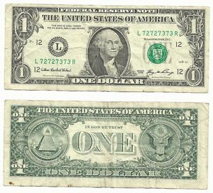 One Dollar Bill Slight Misalignment with Fancy Serial Number $1 FRN Error