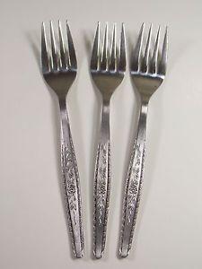 Salad Forks Set 3 Interpur Japan Long Stem Rose Flower Stainless Steel Flatware