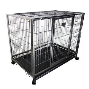 """37"""" Heavy Duty Metal Dog Cage Kennel w Wheels Portable Pet Puppy Carrier Crate"""