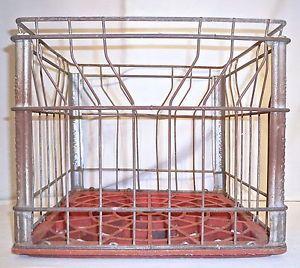 Vintage Barbers Steel Wire Plastic Industrial Dairy Milk Crate Carrier