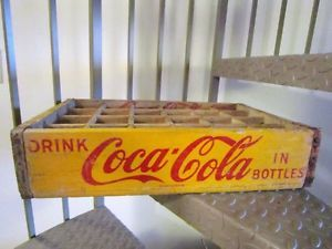 Vintage Coca Cola Coke Glass Bottle Carrier 1968 Antique Wood Crate 24 Pack