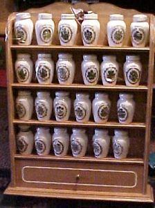 24 Gloria Concepts Franklin Mint Porcelain Spice Jars Jar Set Wood Shelf Rack