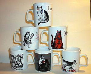 B Kliban Cat Mugs Coffee Cups Set of 6 Kiln Craft Tableware Made in England