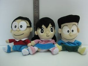 "7 11 Nobita Shizuka Suneo Doraemon Plush Soft Doll Toy Cat 5"" Lot 3"
