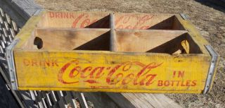 Vintage Yellow Coca Cola Coke Wooden Bottle Carrier Caddie Case Tray Crate