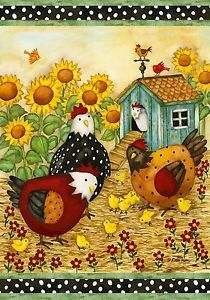 Chicken Coop Polka Dot Sunflower Baby Chick Farm Garden Mini Flag