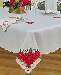Homewear Table Linens Poinsettia Trio Ivory 60x84 Tablecloth New NIP