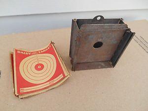 Vintage Daisy BB Gun Metal Shooting Target Box w Paper Targets