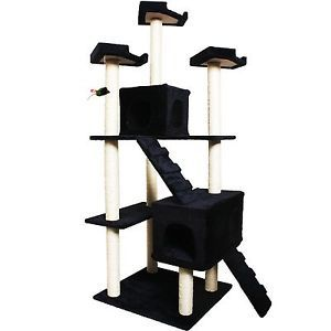 "73"" Navy Cat Tree Condo Furniture Scratch Post Pet House"