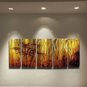 Modern Abstract Metal Wall Art Painting Sculpture Bamboo Robert Hawk USA