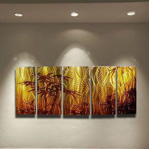 Modern Abstract Metal Wall Art Painting Sculpture Bamboo Robert Hawk USA