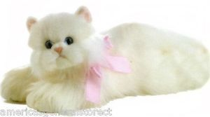 "Cindy Persian Cat Aurora Plush 10"" Long Stuffed Animal Toy Kitty White Blue Eyes"