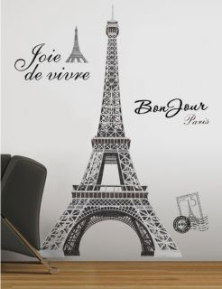 Eiffel Tower Paris Wall Stickers Mural Decal 55 inches Tall Room Decor RoomMates