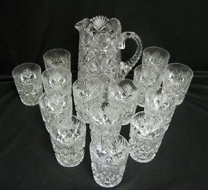 Fantastic Antique Elaborately Cut Glass Water Pitcher with 14 Matching Glasses