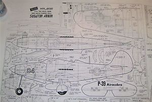 P 39 Airacobra WWII Control Line Model Airplane Plans