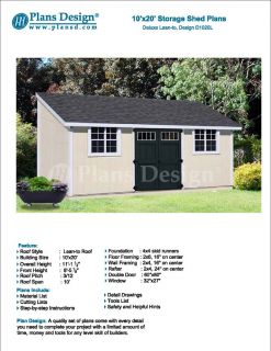10' x 20' Outdoor Structure Building Storage Shed Plans Lean to D1020L