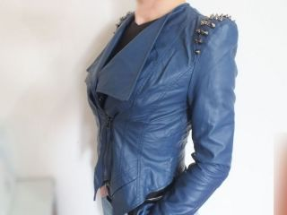 Blue Punk Strong Spike Studded Shoulder Synthetic Leather Cropped Coat Jacket