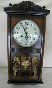 Vintage Sony 31 Day Wall Clock Large Carved Case Wall Clock