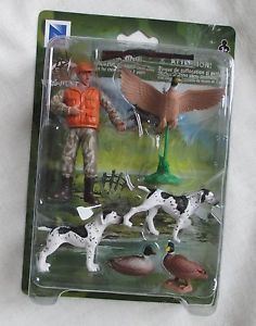 New Wild Hunting Duck Hunter Action Figure Set w Duck Dogs for Age 3