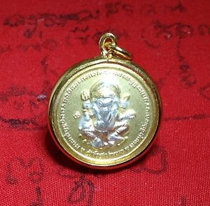 "Perfect ""Lord Ganesh OM Hindu"" Thai Amulet Rich Luck and Good Business Charm"