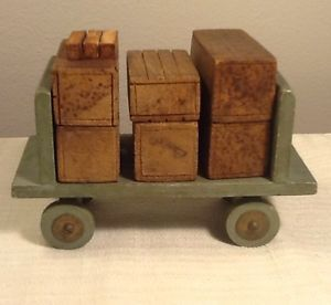 Vintage Antique Wooden Wagon Cart Toy Wood Produce Box Crates Car Train Layout