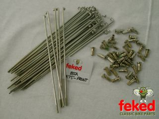 "Stainless Steel Spoke Set BSA A75 Front Wheel Spokes 19"" Rim Cotton Reel Hub"