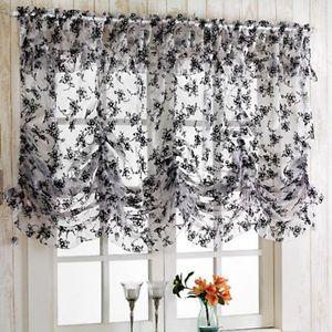 Black Flocking Balloon Shade Valance Curtain Window Kitchen Lace Waverly 3 Size