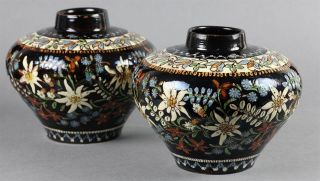 From A Private Collection … Antique Thoune Majolika Pair Floral Vases 19th C