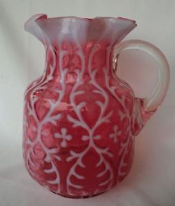 Northwood Cranberry Opalescent Glass Spanish Lace Water Pitcher