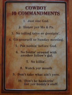 Cowboy Ten Commandments Old West Primitive Country Western Sign Ranch Home Decor
