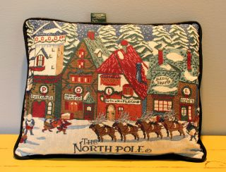 Dept 56 North Pole Village Christmas Tapestry Accent Throw Pillow