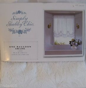 """Simply Shabby Chic One Balloon Shade White Lace Window Panel 60"""" x 63"""""""