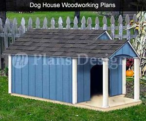 Dog House Plans Gable Twin Roof Style with Porch 90305T Size Up to 150 Lbs