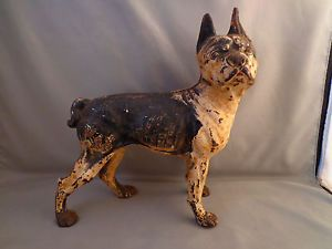 Antique Hubley Cast Iron Boston Terrier Figural Dog Door Stop Original Paint