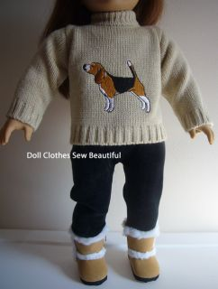Doll Clothes Fits American Girl Dog Sweater Leggings