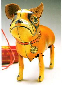 Postcard Bulldog Dog 1950s Vintage Tin Plastic Toy Mechanical