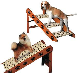 Pet Store Sturdy Convertible Pet Dog 3 Steps Stairs Ramp Paw Print Design